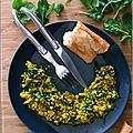 Tofu brouillé aux champignons & aux épinards