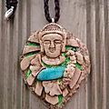 Pendentif feuille de monstera, bouddha, et amazonite