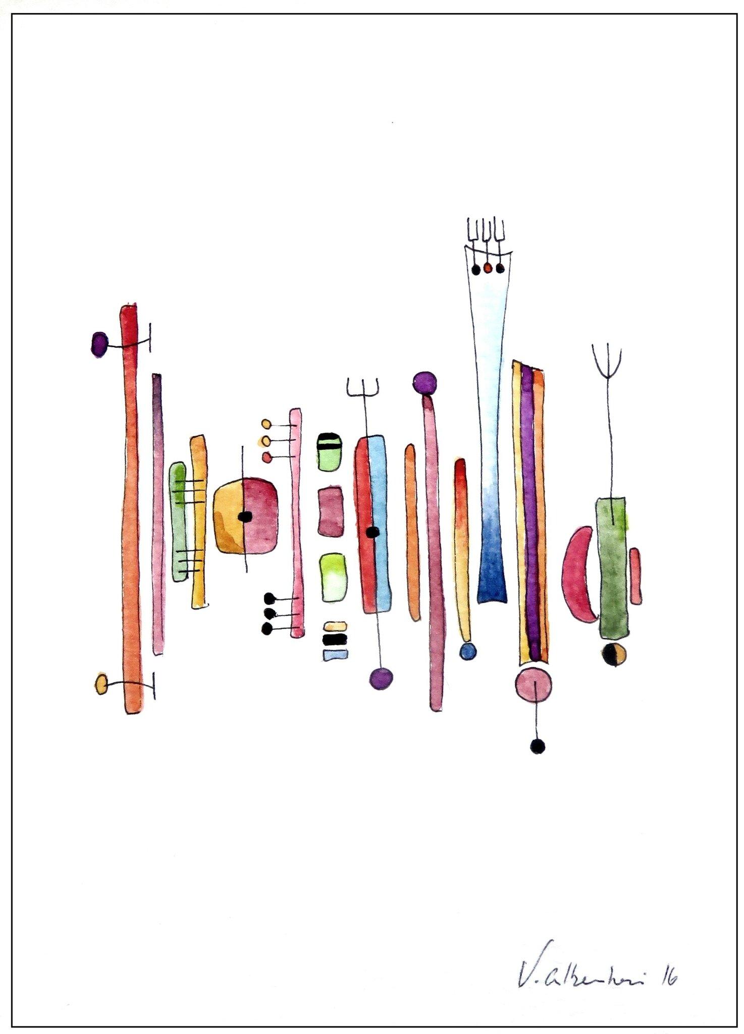 belle aquarelle abstraite couleur valerie albertosi geometrie peiture lignes