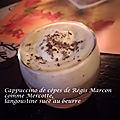 Cappuccino de cèpes de régis marcon comme mercotte, langoustine suée au beurre