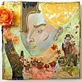 tableau portrait femme mixed media et <b>altered</b> <b>art</b>. Titre: