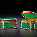 A magnificent and rare pair of <b>Canton</b> <b>tribute</b> bejewelled and jadeite-inlaid silver-gilt <b>boxes</b>, Qianlong period (1736-1795)