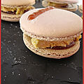 Macarons methode christophe felder, au foie gras et confit de vin rouge