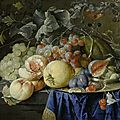 Cornelis de heem, still life with peaches, grapes, plums, cherries, nuts, a melon, celery, a pewter plate and a façon-de-venise