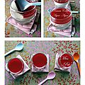 Panna cotta agar-agar, et gélée d'hibiscus, clémentine