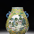 A fine large famille rose yellow-ground 'sylvan landscapes' vase, hu, late qing dynasty, yongzheng six-character mark