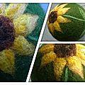 Balle laine feutrée tournesol
