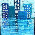 Reflets dans l'eau immeubles Ludivine - Peinture gouache gamme bleue