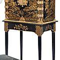 Cabinet en vernis à l'imitation du japon. travail européen de la fin du xviiie siècle