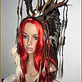Coiffe Shaman <b>Plumes</b> Cornes Wicca Pagan native american Bohemian Feathers Horns Boho Headdress