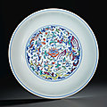 A doucai 'phoenix' dish, Daoguang six-character seal mark in underglaze blue and of the <b>period</b> (1821-1850)