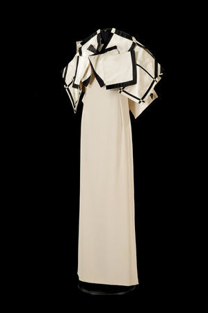 'Sculpture Dress', 1987. By Roberto Capucci (Italian, b. 1930). Museo di Palazzo Venezia Rome. Sculpture-dress, butter colored crepe, satin bolero with white squares and black inlays. Claudia Primangeli / L.e C. Service. Courtesy of the Philadelphia Museum