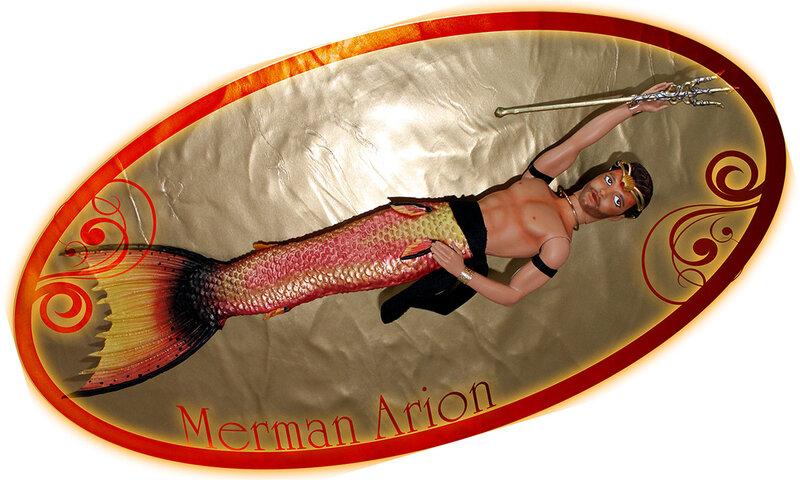 Poupée Ken customisée en merman Arion - par Laureen la sirène