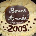 Gâteau Bonne Année entremet au chocolat blanc détail