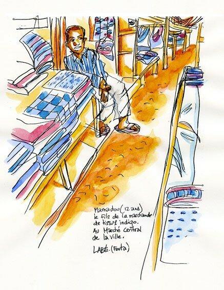 Sur le marché des tissus indigo (Guinée)