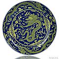 An Imperial underglaze blue and yellow-glazed 'Dragon' dish, China, underglaze blue Qianlong six-character seal mark and period