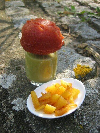 Velouté d'avocat et sorbet de tomates (Café créole)