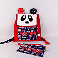 Sac à dos enfant personnalisable prénom panda rouge bleu marine étoiles bus voiture de course trousse personnalisée Victor panda backpack personalized name red navy pencil case