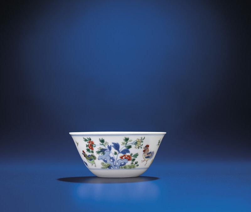 A fine and rare Ming-style doucai 'Chicken' cup, Kangxi period (1662-1722)