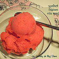 Sorbet aux fraises et au vin rosé, sans gluten et sans lactose