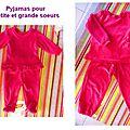 pyjamas pour petite et grande soeurs par Maryline