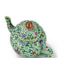A superb and rare turquoise-groundfamille roselobed <b>teapot</b> and cover, Qianlong six-character seal mark and of the period