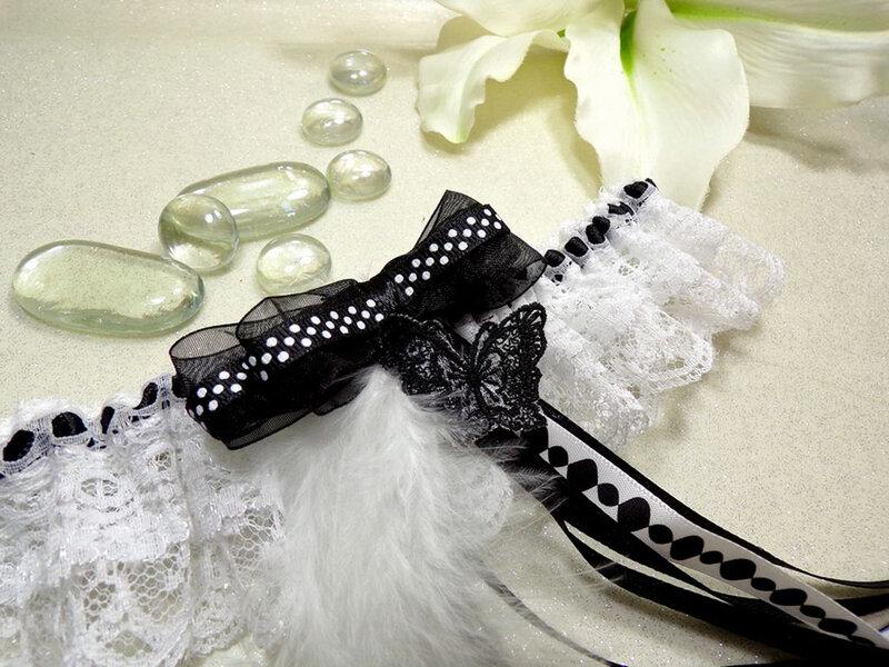 Jarretière de mariée noir blanc papillon noeud