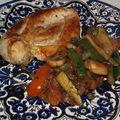 Escalope de poulet et sa poêlée de légumes