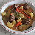 Dés de bœuf aux légumes nouveaux à la sauce stroganoff
