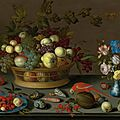 Balthasar van der ast, still life with fruit on a delft plate, seashells, insects, flowers in a wanli vase and two parrots, 1620