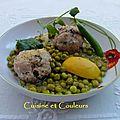 Boulettes de veau aux petits pois, <b>coriandre</b> et citron