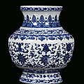 A white and blue porcelain vase, china, qing dynasty, mark and qianlong period (1736-1795)