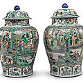 A pair of famille-verte baluster jars and covers, qing dynasty, kangxi period (1662-1722)