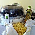 Des frites légéres.. légéres ...avec 1 c à c d'huile d'olive