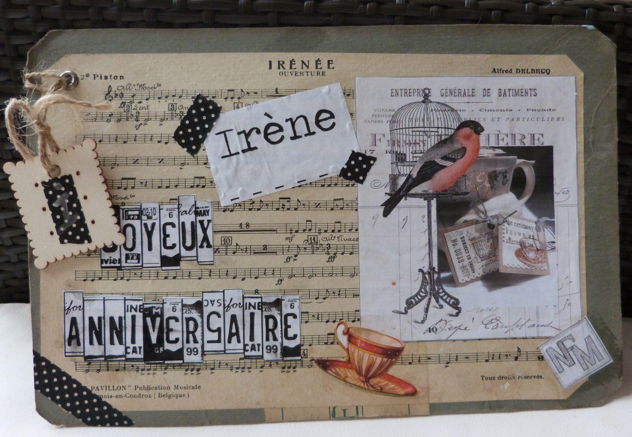 Carte anniversaire Irène 2013