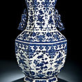 An octogonal blue and white vase with fruit and flower branches, underglaze blue Qianlong seal mark, <b>19th</b> <b>century</b>