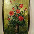 Tableau peinture bouquet de roses rouges signé michel dupuy vers 1960