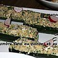 Concombres farcis au quinoa et au crabe
