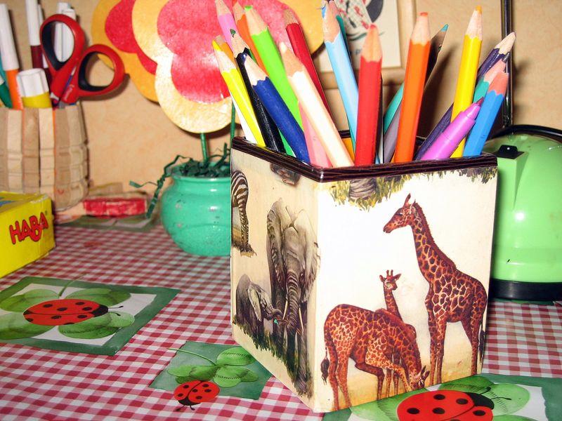 Pot à crayon animaux