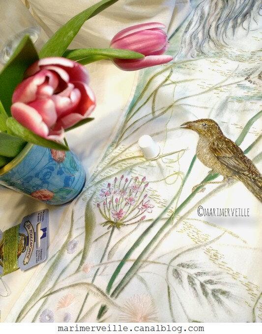 oiseau brodé - work in progress - Marimerveille