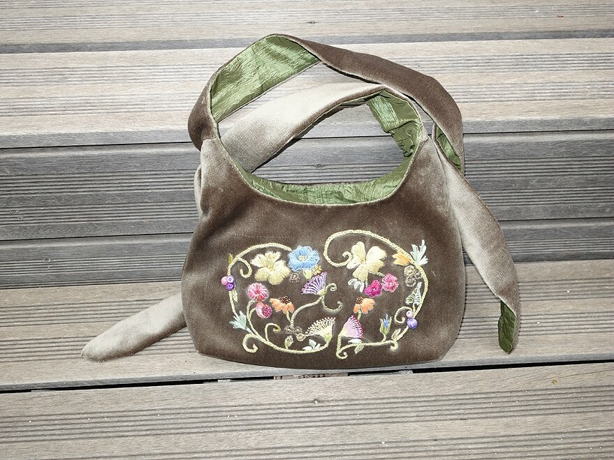 sac vintage en velours a