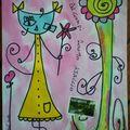 Chat robe jaune par Pascale