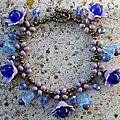bracelet breloque grande fleur mauve