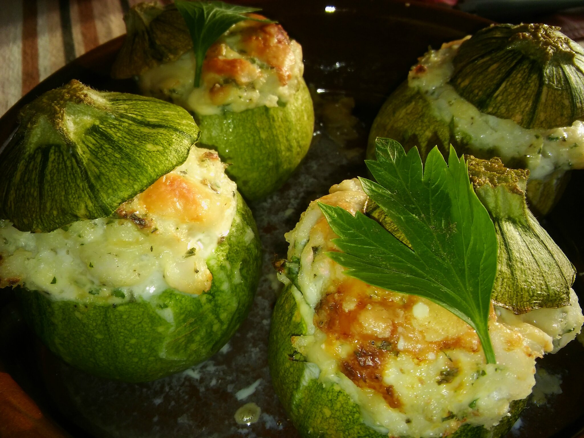 Courgettes rondes farcies au cabillaud