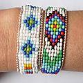 Bracelet 'Native American' en perles et chaîne argentée