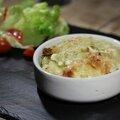 Ecrasé de pommes de terre aux poireaux, gratiné au maroilles