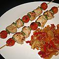 Brochettes de poulet tandoori aux tomates cerise et au poivron vert