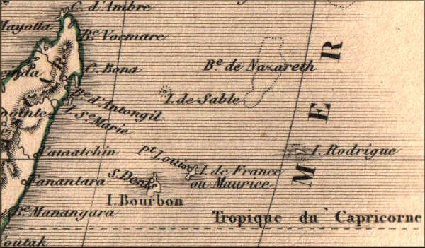 Carte ancienne Mascareignes
