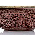 A fine lacquer bowl, wood with cinnabar red carved lacquer decor, china, 1st half of the ming dynasty (1368-1644), late 15th or