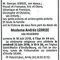<b>Décès</b> de Mme Lebrize